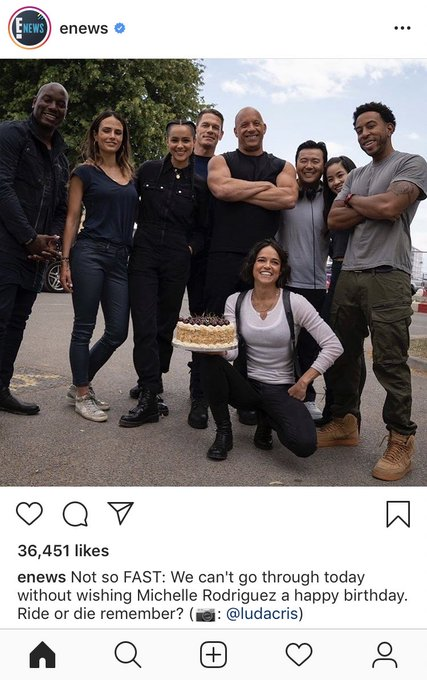 E! news on Insta: Happy Birthday Michelle Rodriguez   Everyone on Insta: WHY IS JOHN CENA THERE?