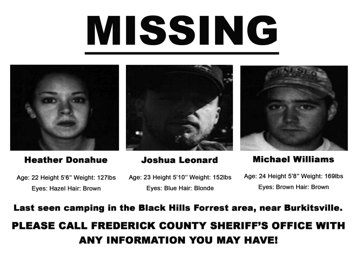 """Grimmfest on Twitter: """"MISSING - Last seen headed into the woods near Maryland, in search of The Blair Witch... THE BLAIR WITCH PROJECT 24 July 2019 @StockportPlaza1 https://t.co/T05tycv8mU #horror #horrorfilms #manchester #stockport #"""