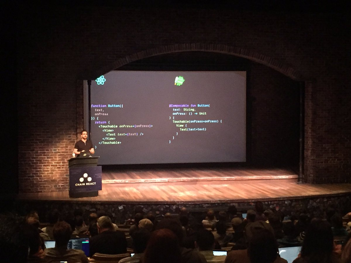 One of the coolest parts about seeing experts speak here at #ChainReact2019 is the 10,000 foot view of the mobile dev world. Case in point: Declarative UI all the things! (React on the left, Jetpack Compose on the right):