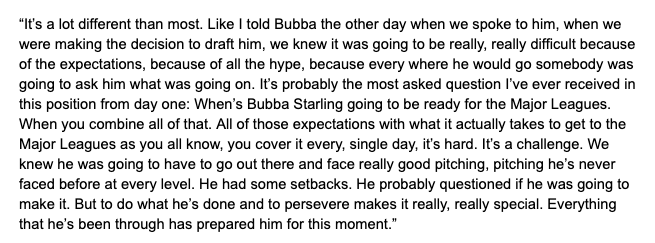Dayton Moore spoke about how Bubba Starling's call up is different than most. <br>http://pic.twitter.com/H04KN1H0ea
