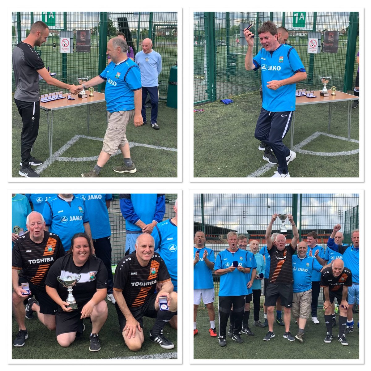 Medals & trophies presented by @HiveTrust to the @BarnetWft from @TheHiveLondon for winning the @middxfa @WalkingFootball central league A fun time had by one & all play with a smile win lose or draw  <br>http://pic.twitter.com/EV2WkXEti1