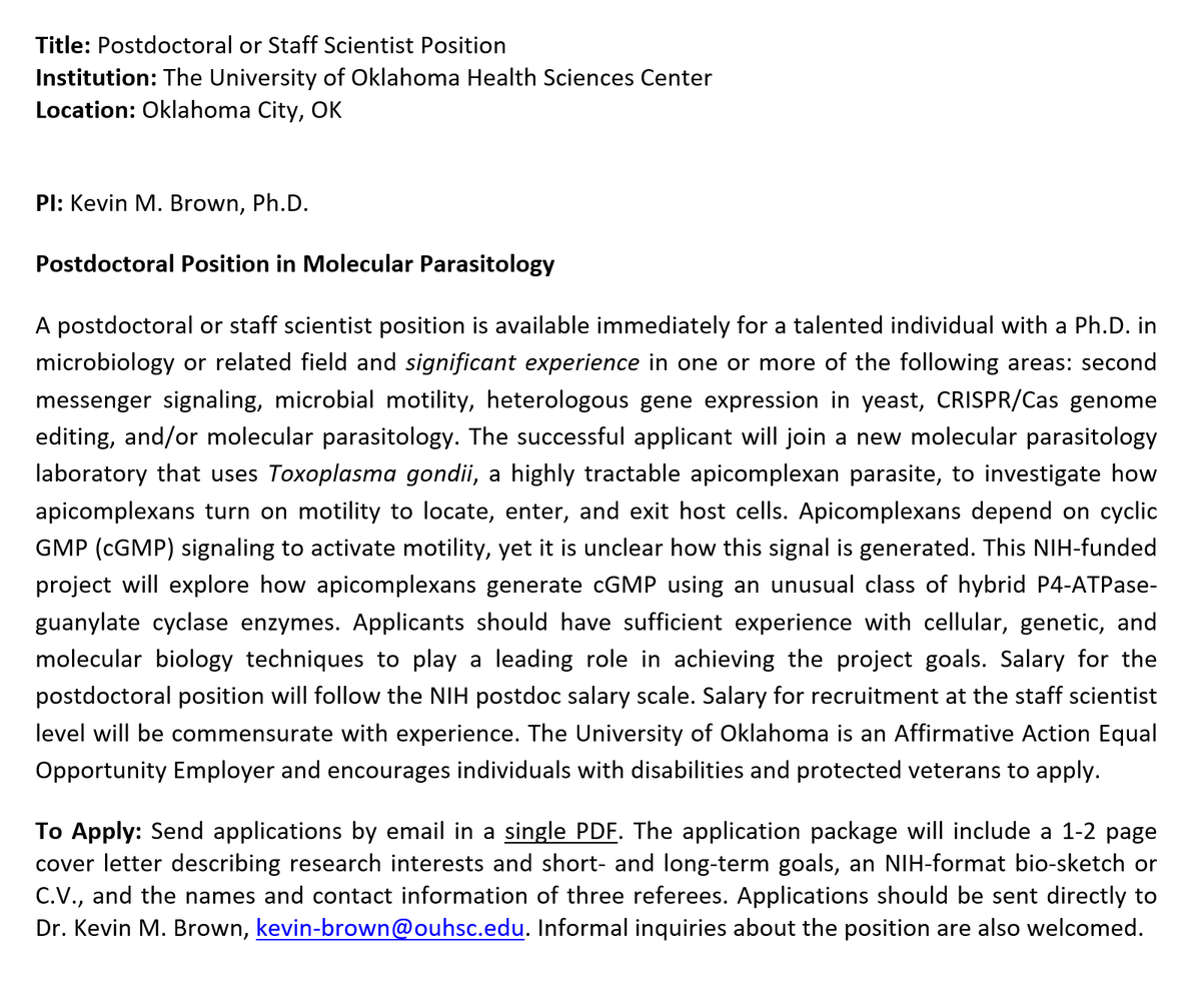 Now taking applications for an NIH-funded #postdoc position in molecular parasitology. #Toxoplasma #Signaling<br>http://pic.twitter.com/dQMqMFAulL