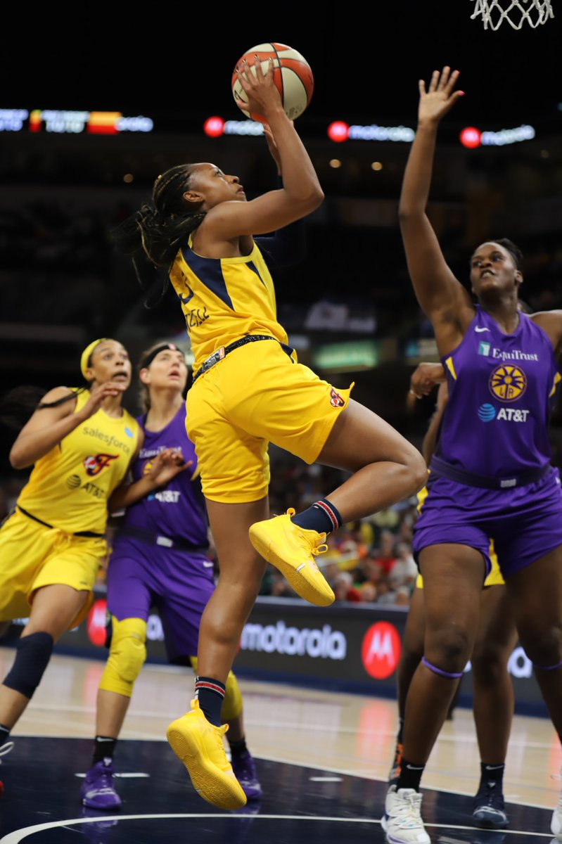 The Sparks have opened up a 76-52 on the Fever, but @IndianaFever guard @TiffMitch25 is still taking the ball strong to the basket. Mitchell has hit 3 of 5 shots and has 7 points through three quarters.  📸: @kimberlygeswein