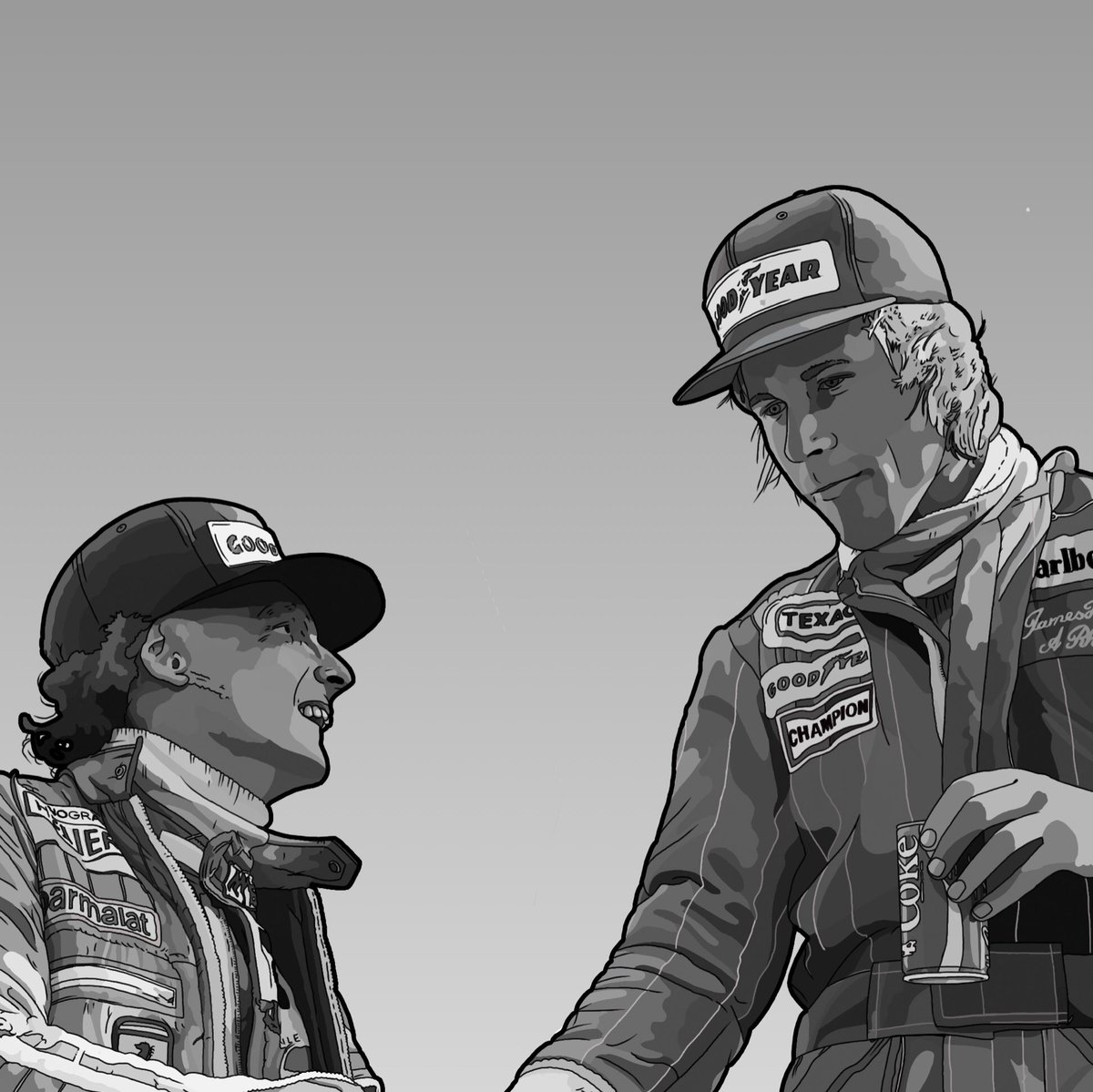 Following the recent passing of Nikki Lauda, I decided to have a go and draw him with James Hunt. I hope you enjoy it http://Instagram.com/dorsetshireboy #NikkiLauda #JamesHunt #Rush #F1 #FormulaOne #Formula1 #Fanart #Tribute