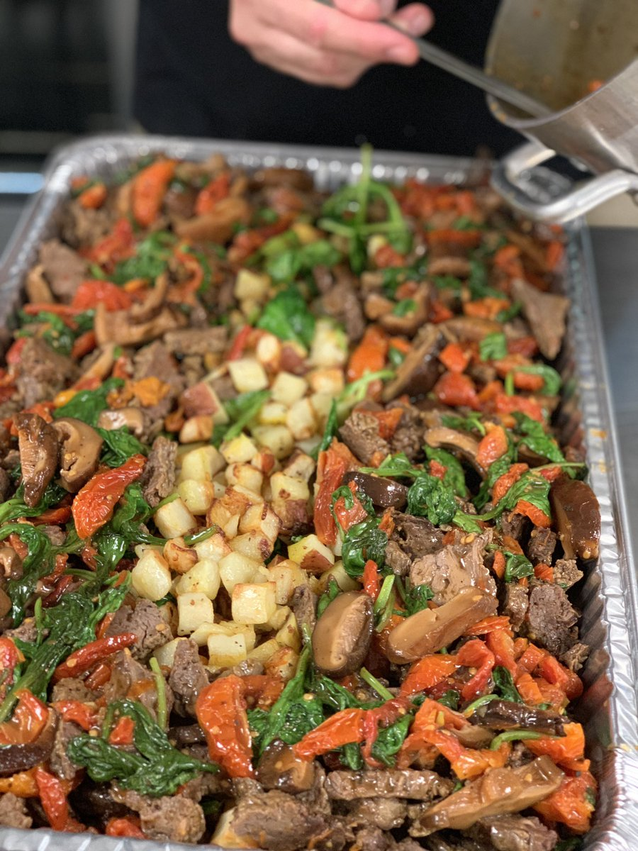 First meals out the door from our #ChefsForLouisiana team in New Orleans to the evacuee shelter as #Barry arrives. Sautéed beef with mushroom + sun-dried tomato sauce over roasted potatoes & spinach, apple, roasted tomato + walnut salad.