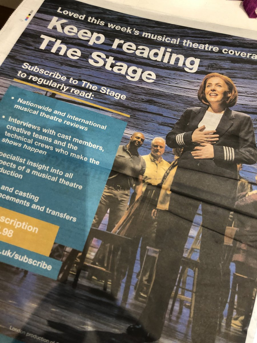 Finally read this week's @TheStage cover to cover. Such a useful read! And how brilliant to see a cheeky peek of @MrHume @ComeFromAwayUK on the back cover ❤️