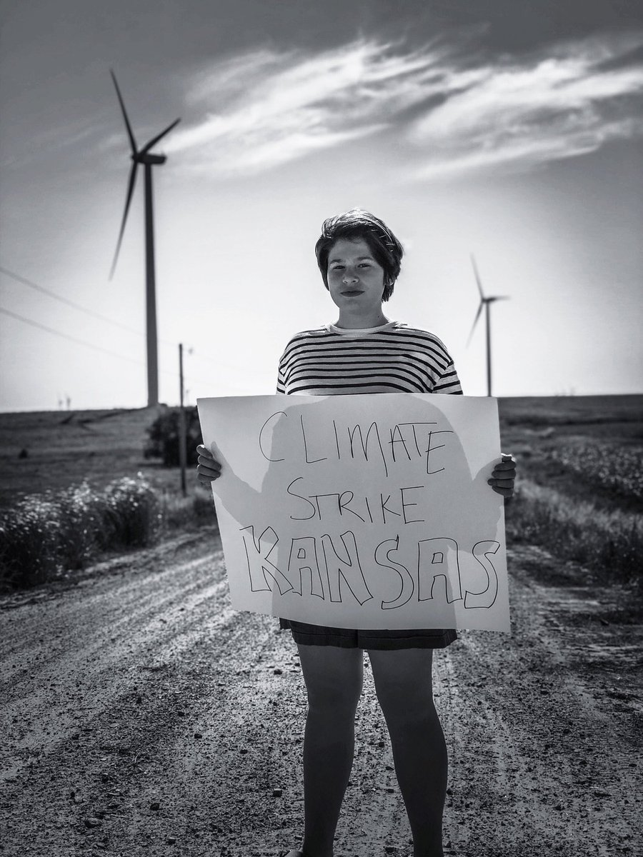 Striking in #Kansas 🌾 today for week 28. Feeling #invisible #forgotten   Tired of striking. #cantstop #wontstop   #ClimateStrike #schoolstrike4climate #FridaysForFuture @GretaThunberg