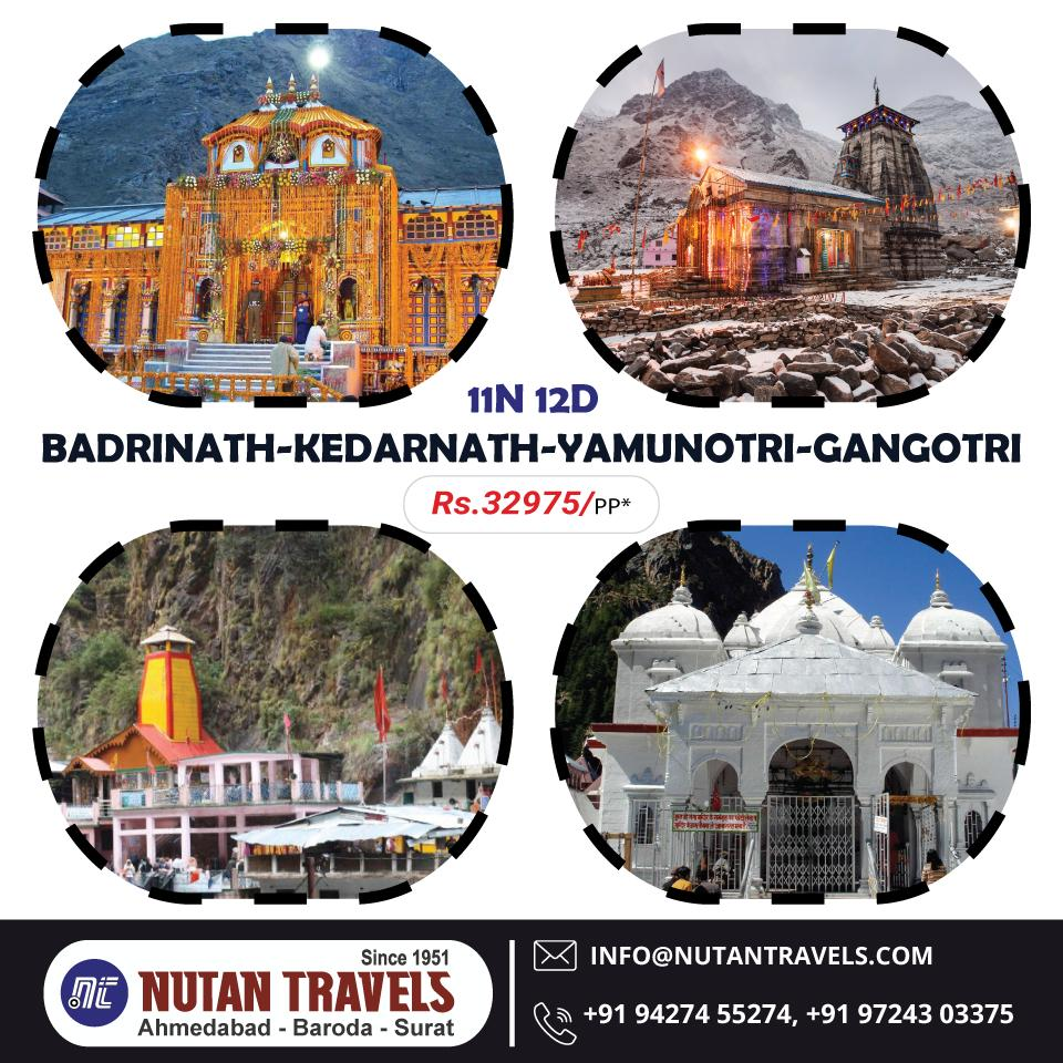 The famous pilgrimage circuit known as Char Dham holds great significance in Hindu religion. #NutanTravels offers special Char Dham Yatra. Book your package at special rates with Nutan Travels!! https://bit.ly/2HWnZP5 #ChardhamYatra #Gangotri #Yamnotri #Ketarnath #Badrinath