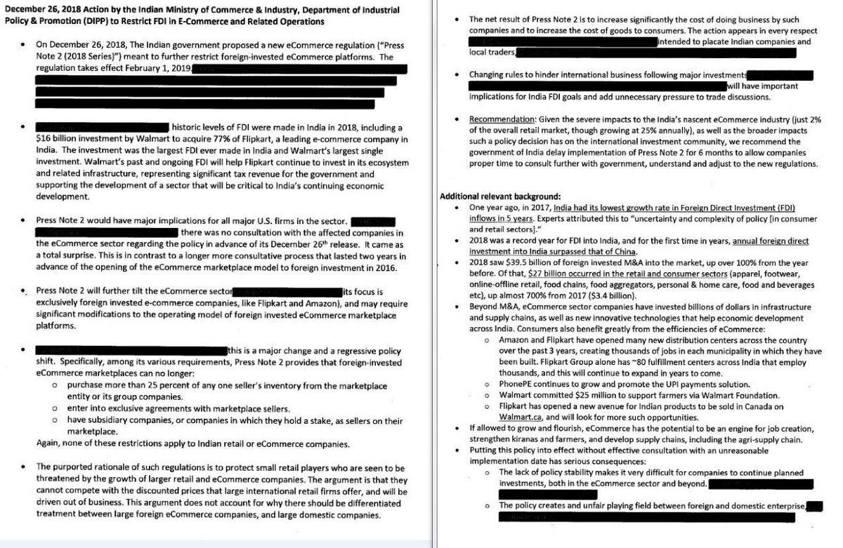 #Replug: Walmart told the U.S. government privately in January that India's new investment rules for e-commerce were regressive and had the potential to hurt trade ties, according to a company document released by US govt to Reuters: http://reut.rs/30xmk82 #FOIA