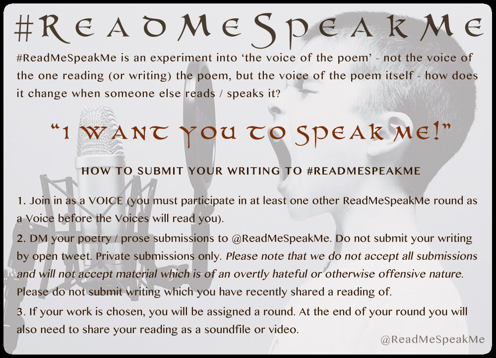 Do you want the #ReadMeSpeakMe Voices to read your writings? We're always on the hunt for fresh victims, I mean, erm, fresh words!! 😆 Get reading / voicing / writing and submitting!! We want PROSE and POETRY (long and short)