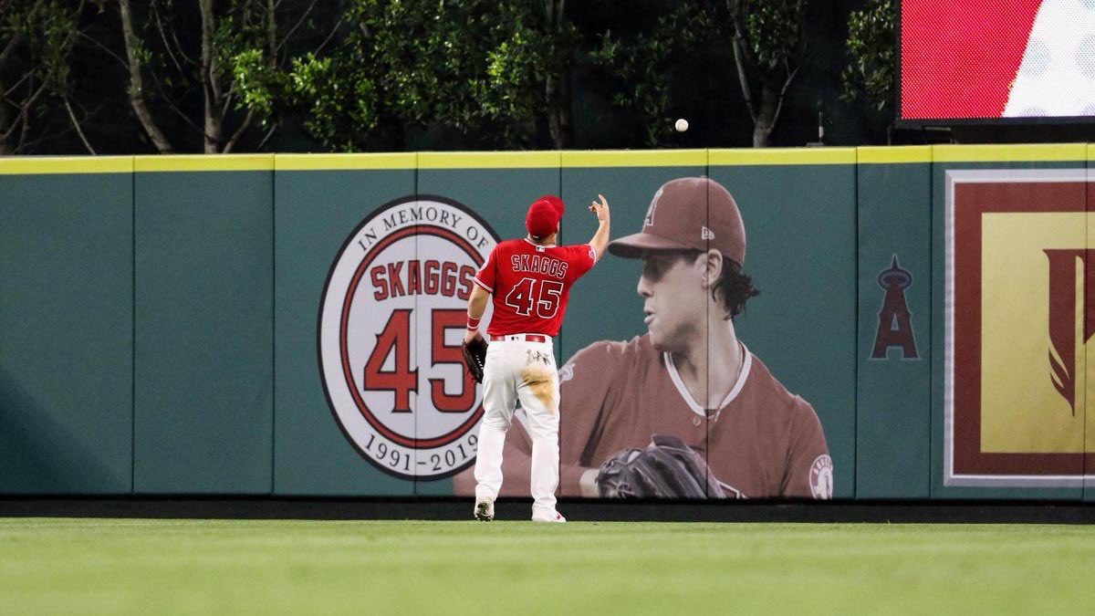 The story will give you chills. • Tyler Skaggs' mother throws first pitch (Angels throw no-hitter) • Trout hits HR exactly 454 ft (Skaggs wore No. 45) • Franchise's 11th no-hitter (Skaggs wore No. 11 in HS) • Score 7 runs in 1st, 13 runs total (Skaggs birthday is 7/13)