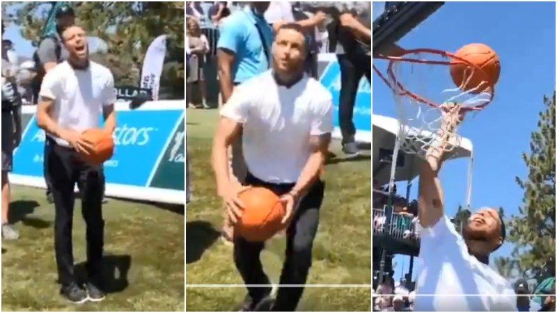 【影片】 金州LaVine永不言棄!柯瑞在在高爾夫球場嘗試灌籃,連灌三次失敗後惹得現場觀眾哈哈大笑!