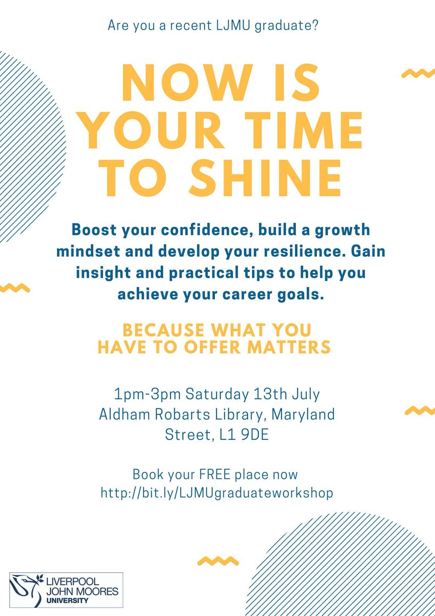 Today I have the privilege to work with @ColetteAshbrook from @LJMUCareers on our #NowIsYourTimeToShine #growthmindset workshop still places for @Ljmu @LJMUAlumni starts at 1pm @ljmulibrary Aldham Robarts - youll need photo ID if youve not got your student card any more