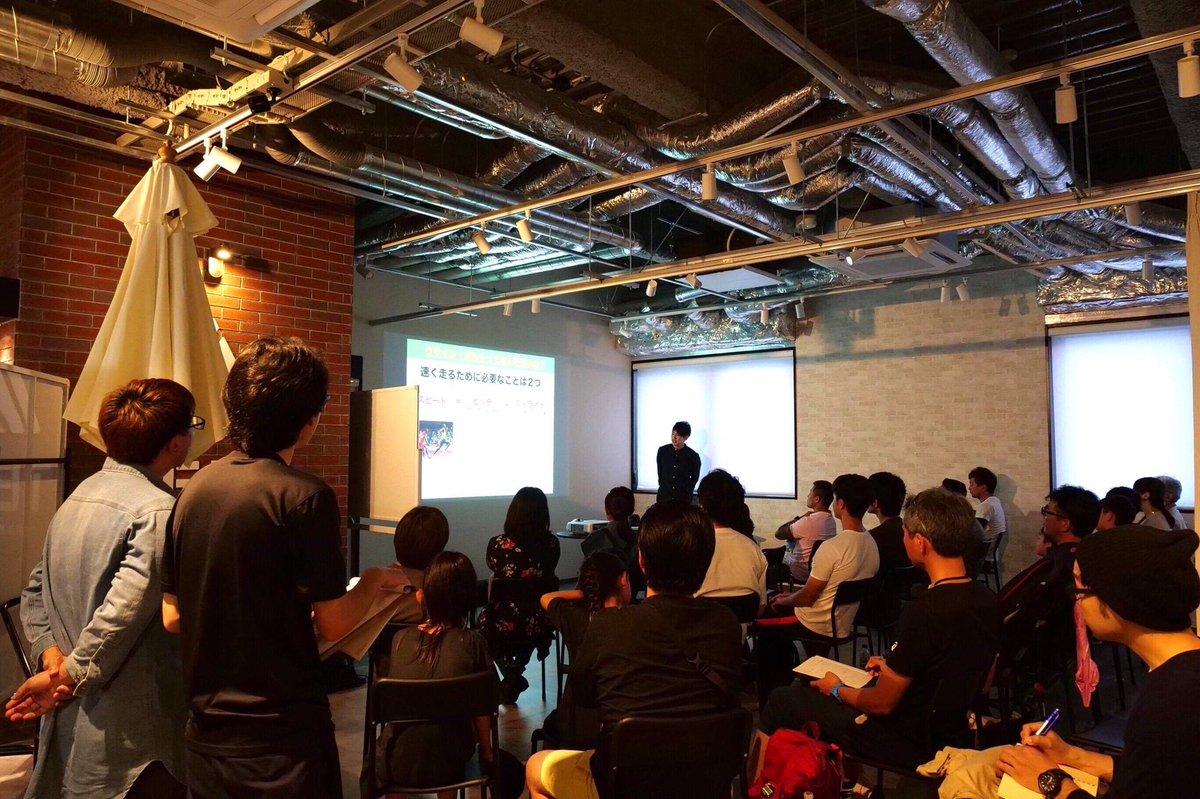 スプリントコーチの秋本真吾さん。 講演中です! #omegane #TENT幕張