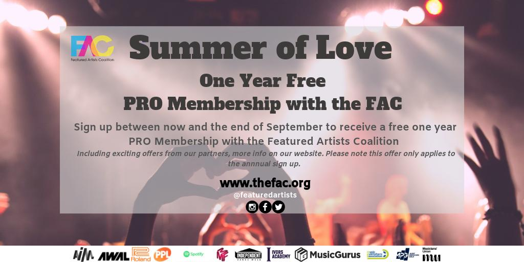 👇For their Summer of Love, @FeaturedArtists are offering a year's free PRO membership - all the details  below. Membership brings all kinds of benefits, including access to our partner events with The FAC ☀️#featuredartistscoalition #summeroflove