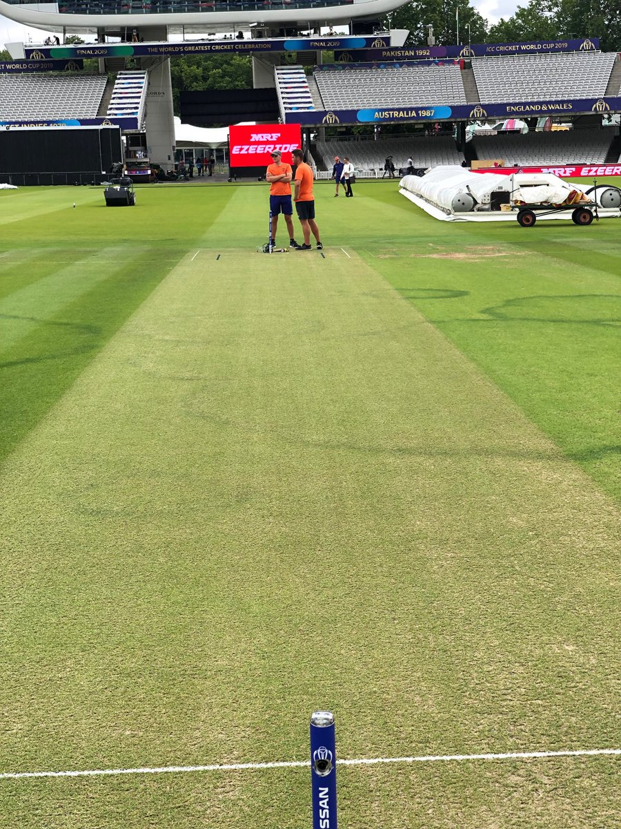 World Cup final pitch .. green at the moment dry underneath.. giving it another cut in the morning!