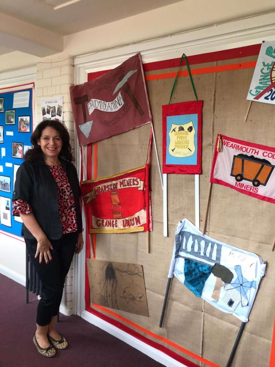As the daughter of a blacksmith striker at #Wearmouth Colliery I was delighted to see a tribute to #DurhamMinersGala during a visit to Grange Park Primary School in #Sunderland this week. Many thanks for the invitation - the pupils are all a real credit to their school.