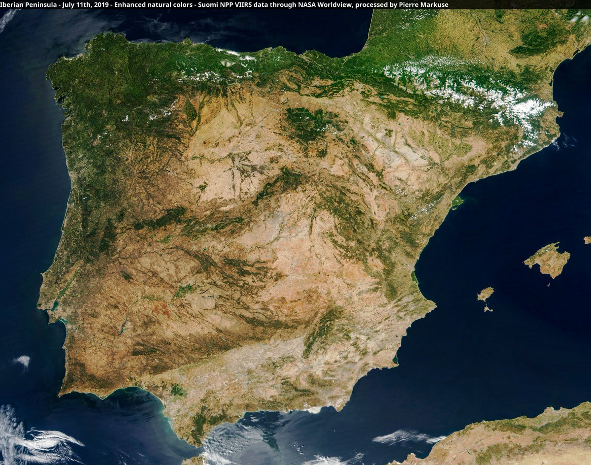 Satellite Map Of Spain.Pierre Markuse On Twitter Nice Cloud Free View Of The Iberian