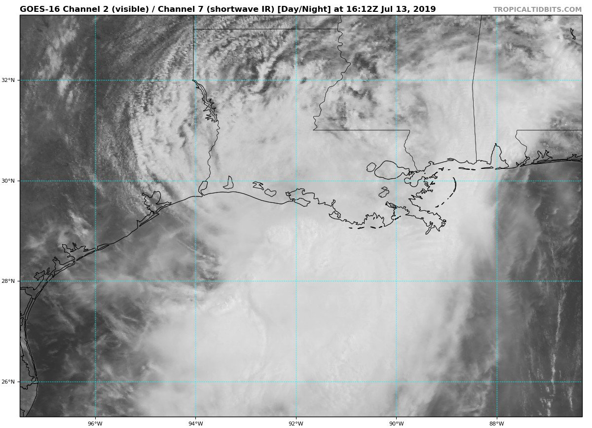 #Barry has made landfall near Intracoastal City, LA and has weakened to a tropical storm. Dangerous storm surge, heavy rains and wind continue across the north central Gulf Coast.