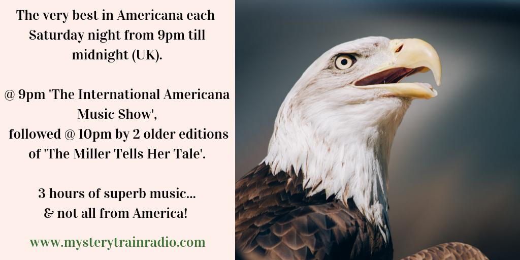 @ 9PM UK its #Americana time! The International Americana Music Show feat. new music from across the globe & @ 10PM - a couple of older editions of The Miller Tells Her Tale (songs frm America & beyond)! Listen via mysterytrainradio.com/listen or @tunein @ tunein.com/radio/Mystery-…