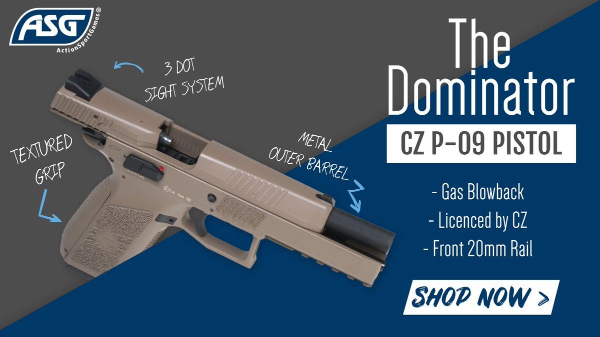 The Dominator... If you're wanting something a little different that can ensure your prowess in the field then the CZ P-09 is for you!  Available online & in-store: https://buff.ly/2JI64tJ  #cz #asg #p09 #airsoft #6mm
