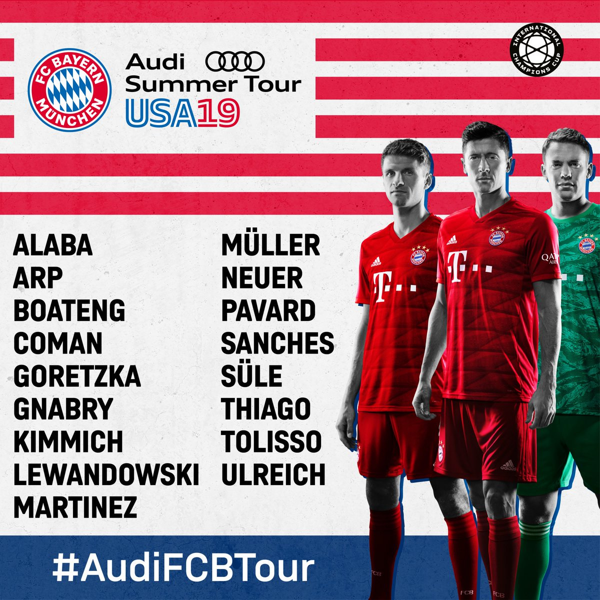 Our squad for the #AudiFCBTour! 🇺🇸💪#ICC2019   🎟️ http://fcbayern.com/us/us-tour