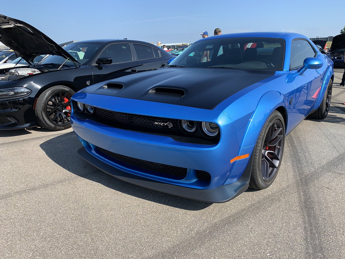 Live at Cars & Coffee this morning in Detroit! B5 SRT Challenger Hellcat Redeye Widebody in the house!   #MoparOrNoCar #MoparChat<br>http://pic.twitter.com/rKioP8HpQC