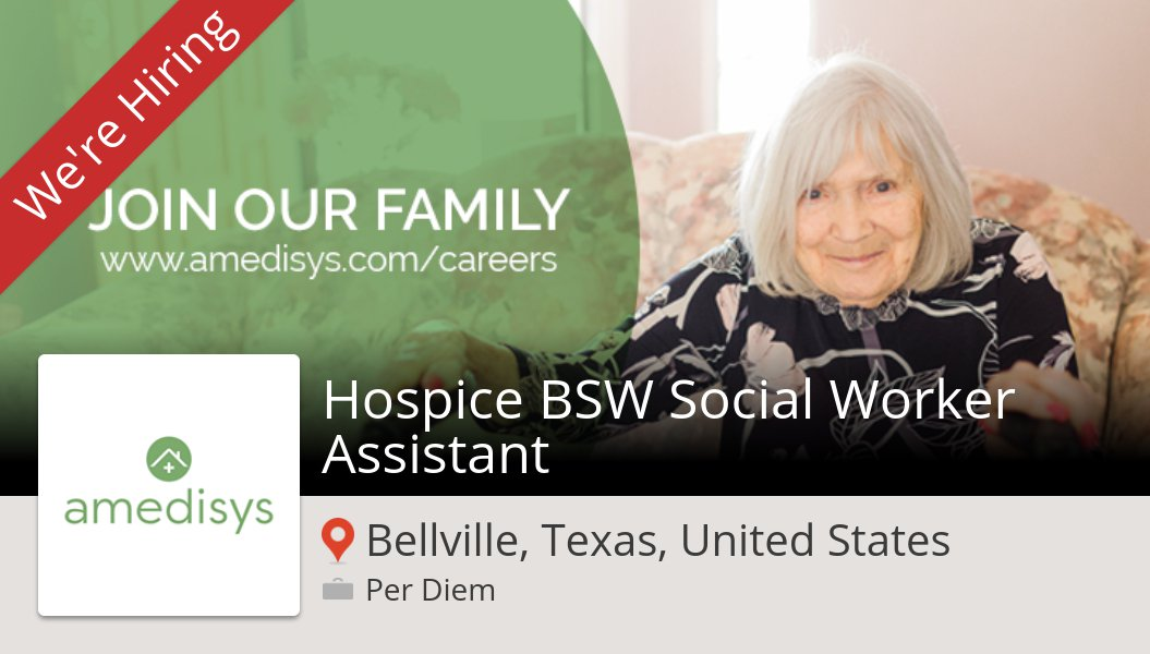 Hospice BSW Social #Worker #Assistant (#job) wanted in #Bellville. #Amedisys https://t.co/Vh35Vnhhwj https://t.co/H1gETK5G6M
