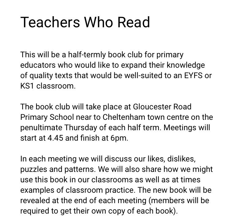 I'm setting up a brand new book club in Cheltenham for KS1 and EYFS educators starting in October. If you'd like to sign up please follow the link forms.gle/6NZHumGNv17ZDi….