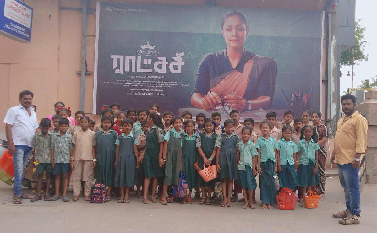 Students & Teachers of  Corporation Middle School,  Sathamangalam, Madurai,   enjoyed watching #Raatchasi.