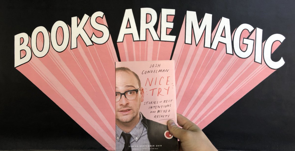Hey! I didn't mention it before, but every ticket to my 9/17 book launch show at @BellHouseNY (featuring @emmyblotnick, @GaryGulman, @karencheee, and the Lucas Brothers) comes with a copy of Nice Try purchased from Brooklyn's own @booksaremagicbk!!! https://www.thebellhouseny.com/e/josh-gondelman-nice-try-book-release-show-64978206565/…