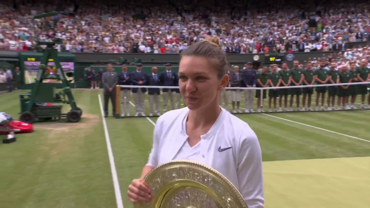 """""""Have you ever played a better match than that?""""  """"Never!""""  @Simona_Halep speaks as a #Wimbledon champion for the first time..."""