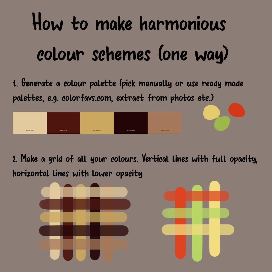 So I made this tiny tip on how to get more harmonious colours. Hope it helps someone! #arttips #artistsontwitter<br>http://pic.twitter.com/Scz458BnIa