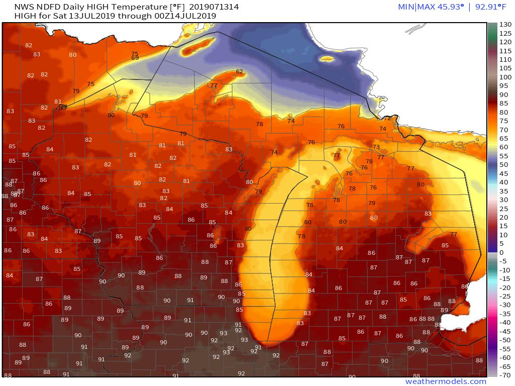 #OTD in 1936: Wisconsin and Michigan set their all-time record high temperatures.  Wisconsin Dells reached 114°F Stanwood, MI reached 112°F Here is a Google Map showing all-time high temps for each state. https://t.co/bOk4CTfiy7
