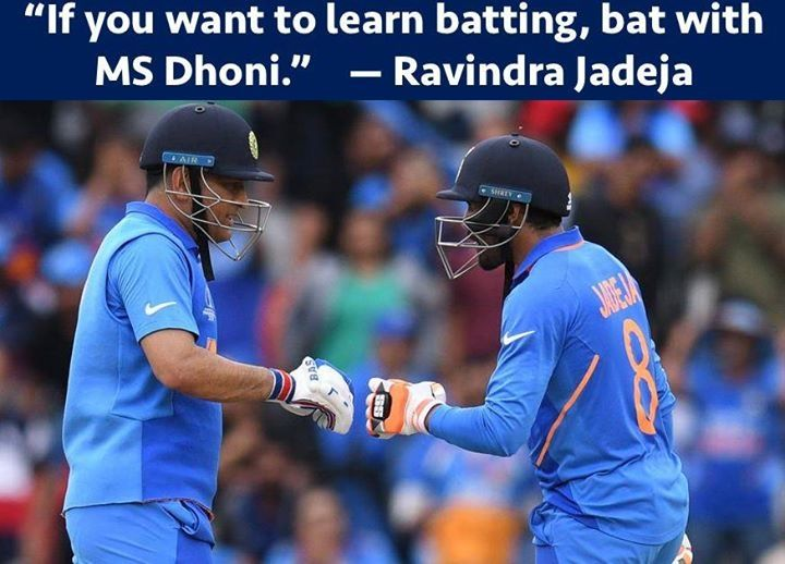 """""""If you want to learn batting, bat with MS Dhoni."""" : Ravindra Jadeja <br>http://pic.twitter.com/1TwrSUVWUh"""