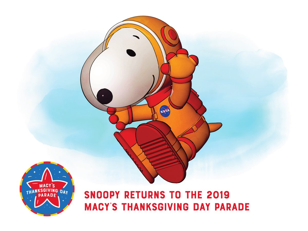#AstronautSnoopy takes flight in this year's @Macys Thanksgiving Day Parade to celebrate the 50th Anniversary of the #Apollo11 Moon Landing! This year also marks the 50th Anniversary of Snoopy's first flight as an Astronaut in the 1969 Parade. #macysparade<br>http://pic.twitter.com/LMLk7X7Hib