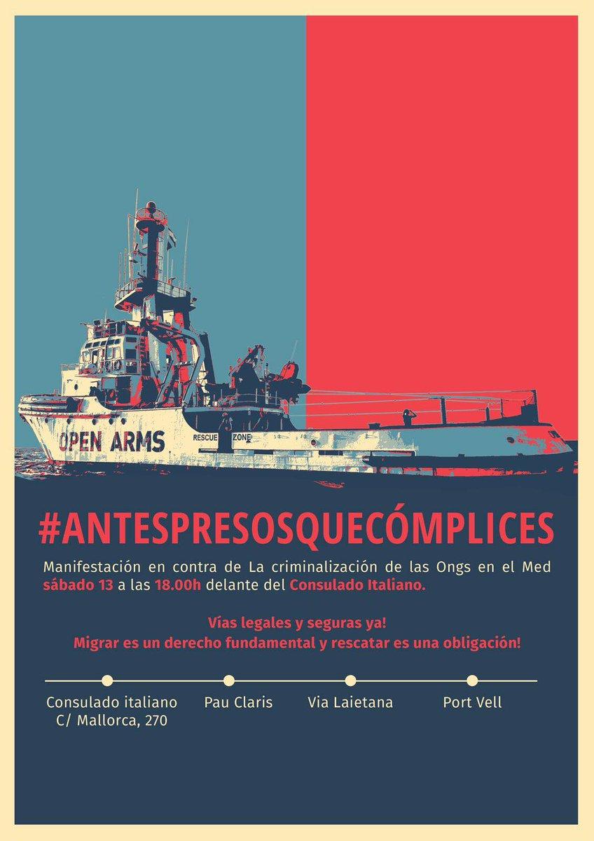 📢📢📢El próximo sábado 13 de julio a las 18h nos manifestaremos en contra la criminalización y la persecución de las organizaciones que luchan para salvar vidas en el mar y en protesta de la vulneración de los derechos humanos. Súmate. #ANTESPRESOSQUECOMPLICES ⚓🌊🚢 #ELSU19