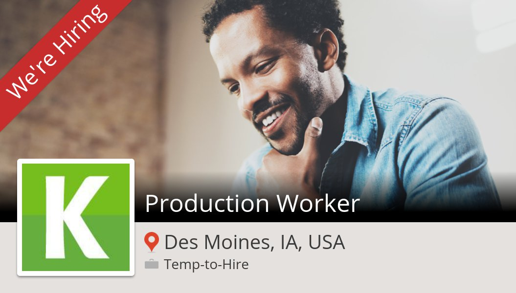 #Production #Worker (#job) wanted in #DesMoines. #KellyServices https://t.co/264VrRwJzG https://t.co/aTkWRx2Ala