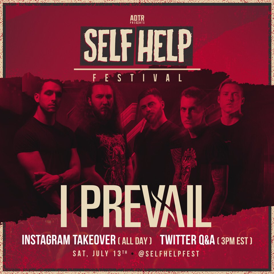 Self Help San Bernardino artist @IPrevailBand is taking over our IG story today and doing a Twitter Q&A at 3pm EST. Follow along!