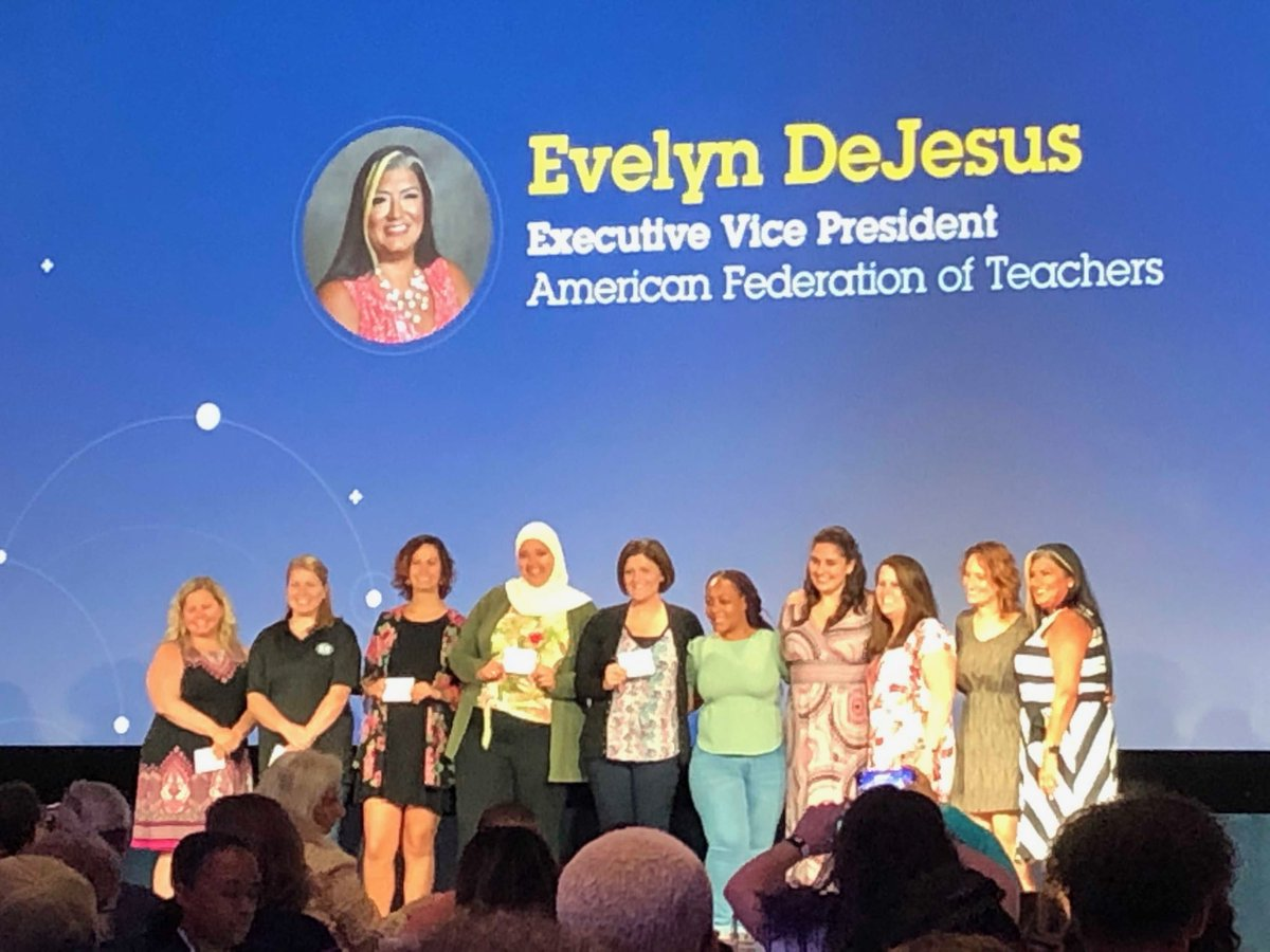 """Congratulations to @BTU66 members Marjorie and MC for receiving the DonorsChoose """"Freedom to Teach"""" prizes for their classrooms from the newly elected @AFTEVPDeJesus ! #TEACH19 @AFTunion"""