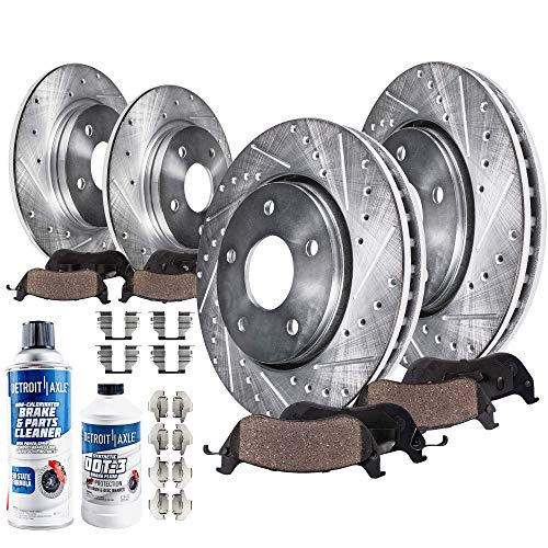 Front Discs Brake Rotors Ceramic Pads For 2008-2012 Jeep Liberty Drilled Slotted