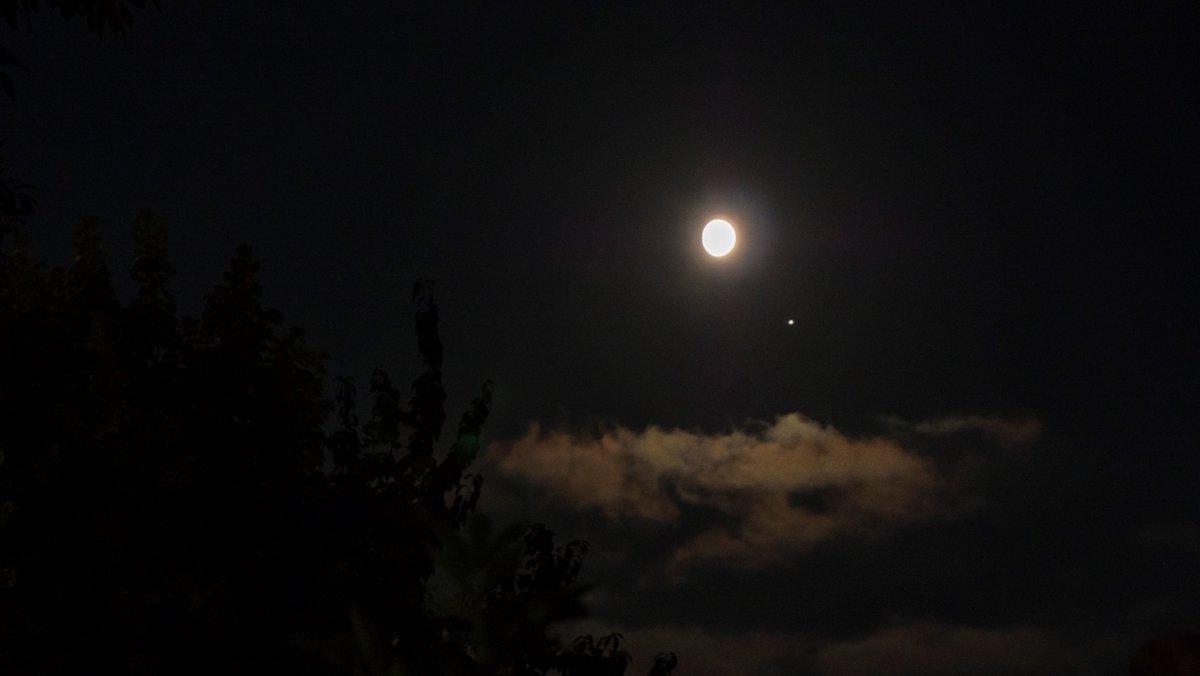 Moon and Jupiter close together.