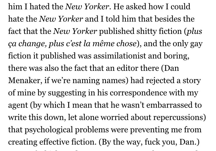 The hero of that Dale Peck article is clearly Daniel Menaker.