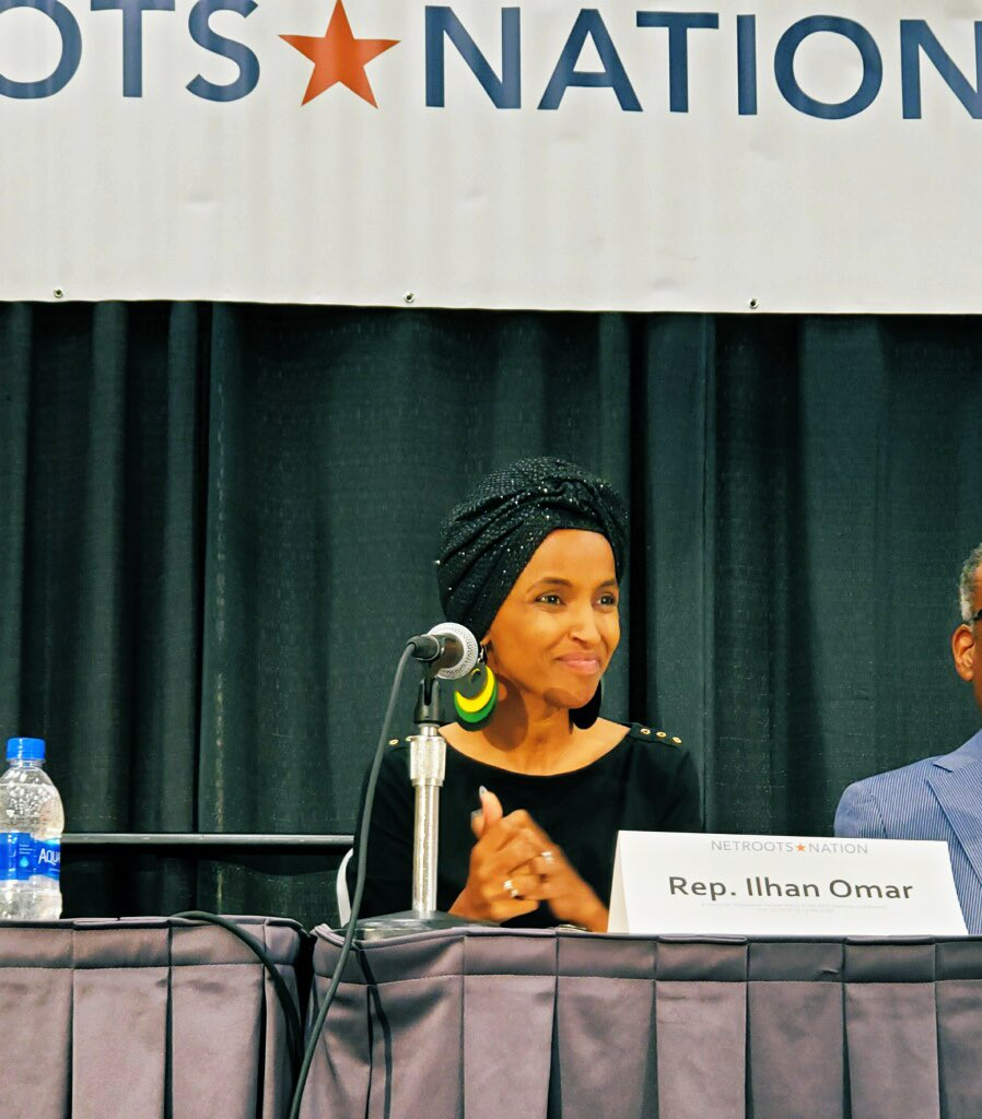"""""""We need a green new deal for progressive foreign policy"""" YES WE DO 💯🔥✨ — @Ilhan on ending endless war at #NN19"""