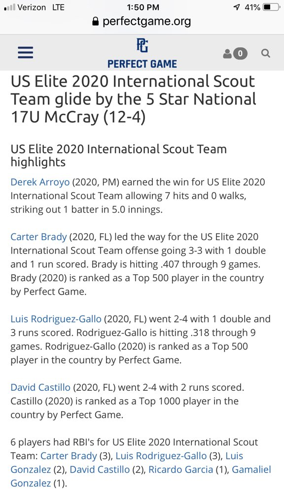 Player spotlight: 2020 CF, Carter Brady, Charleston Southern commit ends the summer with another event over .400 at the BCS @PerfectGameUSA at .407 Carter has simply crushed the ball all summer. @USElitebase