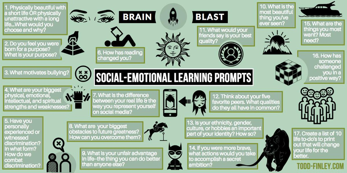 Social-Emotional Learning Prompts, because we're made of feelings. Brain Blast #edchat #sunchat