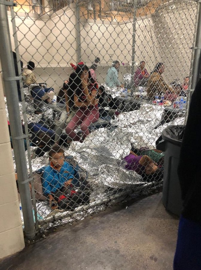 The 1st sounds we heard before we could see the children held at Ursula were haunting cries of babies & toddlers. I spoke to a dad of a sick 6-month-old girl. She was flushed, listless, her little fists clung tightly to his shirt. Flu, meningitis, typhus, lice & more. #Border