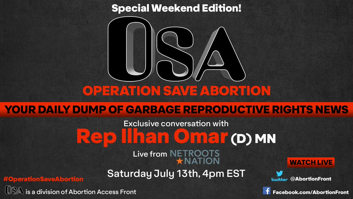 I am interviewing @Ilhan streaming LIVE @AbortionFront AT 4PM EST! WATCH Y'ALL!