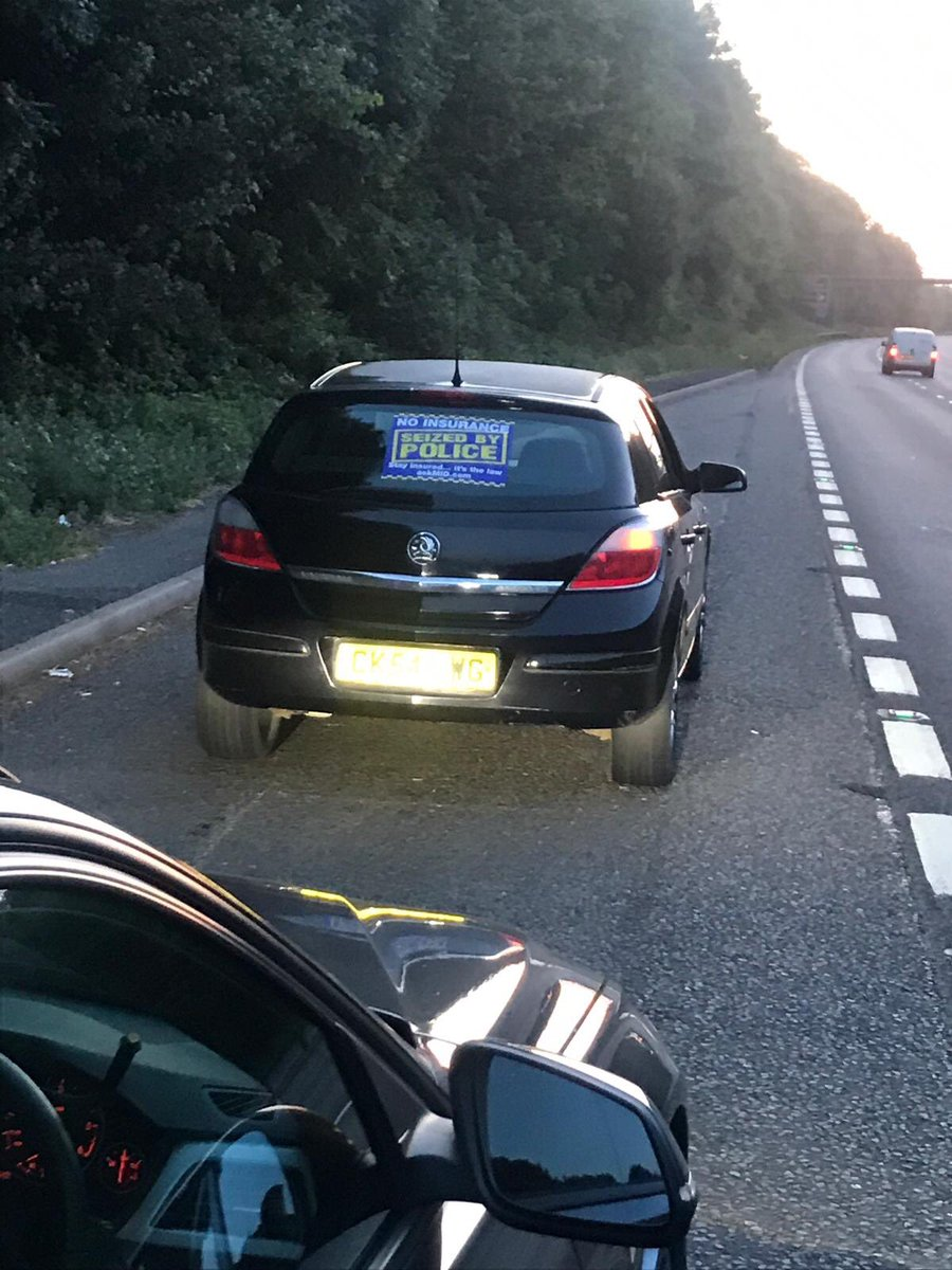 This car was just stopped on the A46 northbound near to Kenilworth. Car seized as driver had no insurance and no driving licence. Driver reported. CM