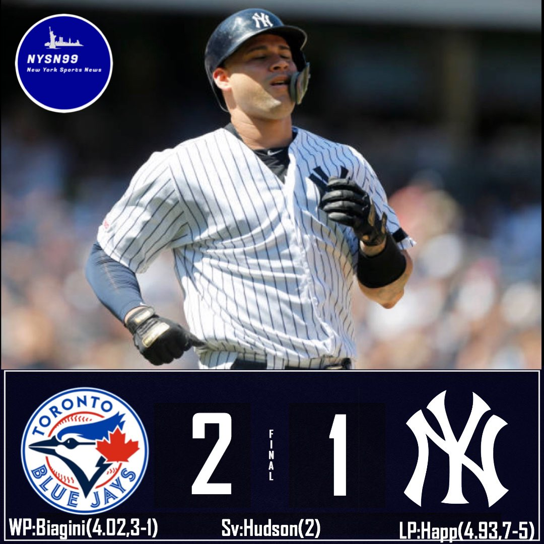 The Yankees fall 2-1 to the Blue Jays. Tough loss